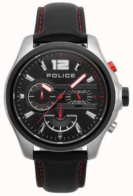 Police Herren denver schwarz und rot Lederband Uhr 15403JSTB/02