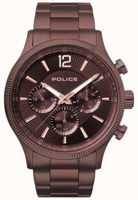 Police Wildleder braun ip überzogene Armbanduhr 15302JSBN/12M