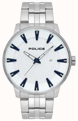 Police Herrenflint Edelstahl weiß Zifferblatt Uhr 15391JS/04M