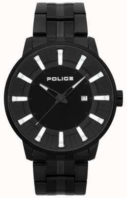Police Herren Feuerstein schwarz PVD überzogene Uhr 15391JSB/02M