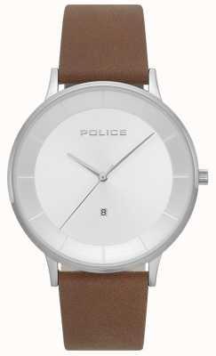 Police Mens Fontana braun Leder Silber Zifferblatt Uhr 15400JS/04