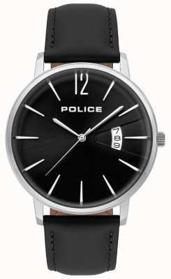 Police Herren Tugend schwarze Lederuhr 15307JS/02