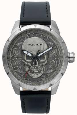 Police Mens Mystic Totenkopf Zifferblatt schwarz Leder Uhr 15397JS/57
