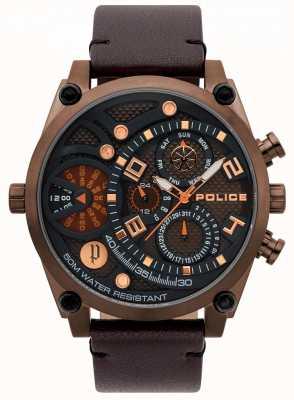 Police Herren braun Lederband Uhr 15381JSBZ/12