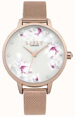 Lipsy Womens Rose Gold Mesh Blume Zifferblatt Uhr LP577