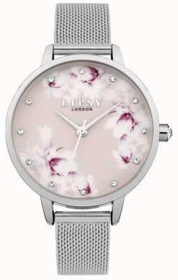 Lipsy Damenuhr aus silbernem Mesh-Pink mit Blumenmotiv LP576