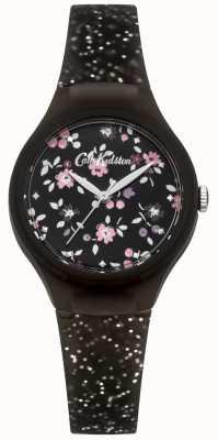 Cath Kidston Damen schwarz Silikon Silber Glitzer Uhr CKL048B