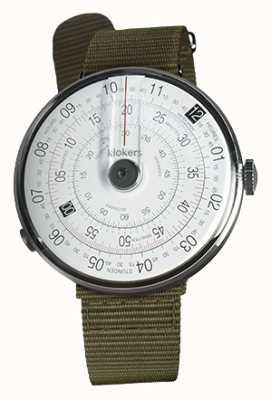 Klokers Klok 01 schwarzer Uhrenkopf Flechtengrün Textileinzelarmband KLOK-01-D2+KLINK-03-MC2