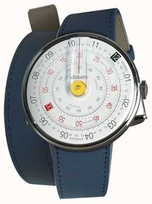 Klokers Klok 01 gelb Uhrenkopf indigo blau 420mm Doppelgurt KLOK-01-D1+KLINK-02-420C3