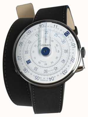 Klokers Klok 01 blaue Uhrenkopf-Matte schwarzer Doppelgurt KLOK-01-D4.1+KLINK-02-380C2