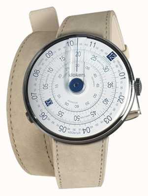 Klokers Klok 01 blauer Uhrenkopf grauer Alcantara-Doppelgurt KLOK-01-D4.1+KLINK-02-380C6