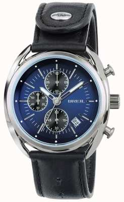 Breil Beaubourg Edelstahl Chronograph blaues Zifferblatt schwarzes Band TW1528