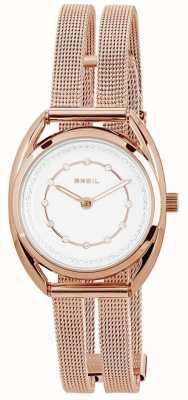 Breil Petit Rose Gold PVD Edelstahl Silber Kristall Zifferblatt TW1653