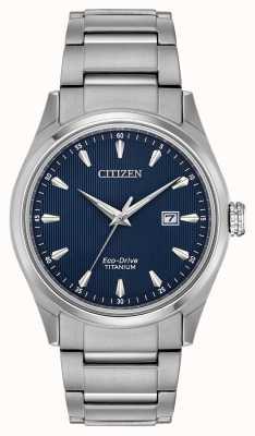 Citizen Herren blaues Zifferblatt Silber Ton Super Titan Armband BM7360-82L