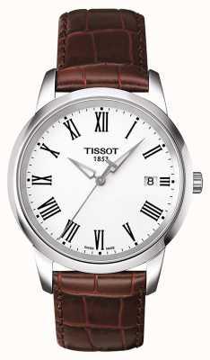 Tissot Klassisches Herrenuhr braunes Lederarmband weißes Zifferblatt T0334101601301