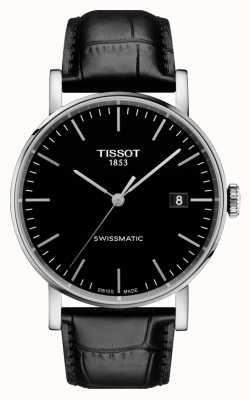 Tissot Mens immer swissmatic schwarzes Zifferblatt schwarzes Lederarmband T1094071605100