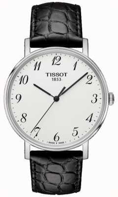 Tissot Mens immer Medium schwarz Leder Silber Zifferblatt T1094101603200