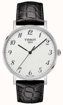 Tissot Herren jedes Mal mittelschwarzes Leder silbernes Zifferblatt T1094101603200