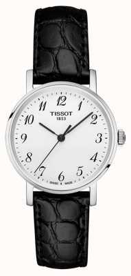 Tissot Womens jedes Mal schwarzes Armband silbernes Zifferblatt arabische Ziffern T1092101603200