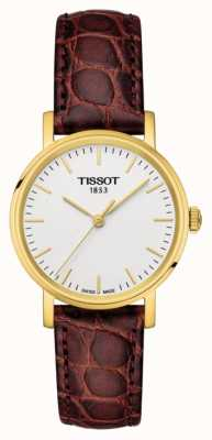 Tissot Damen jedes Mal braunes Leder vergoldet Schweizer gemacht T1092103603100