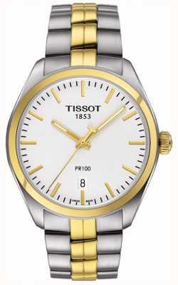 Tissot Mens pr100 Edelstahl vergoldet Armband Datum T1014102203100