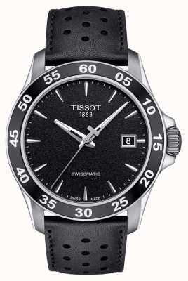 Tissot Mens V8 swissmatic schwarzes Zifferblatt schwarzes Lederarmband T1064071605100