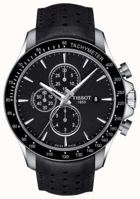 Tissot Mens v8 swissmatic Chronograph schwarzes Zifferblatt schwarzes Leder T1064271605100