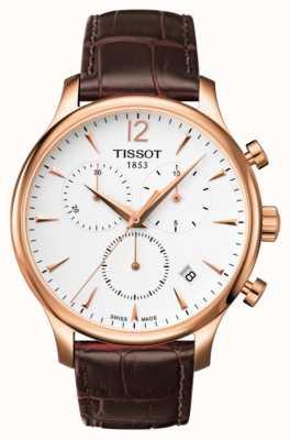 Tissot Herren Traditions-Chronograph Rosé vergoldetes braunes Leder T0636173603700