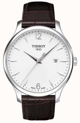 Tissot Herren Tradition braun Lederband silbernes Zifferblatt T0636101603700