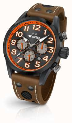 TW Steel Coronel Dakar Limited Edition braunes Lederarmband schwarzes Zifferblatt TW975