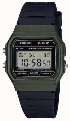 Casio Alarm Chronograph grün & schwarzes Gehäuse F-91WM-3AEF