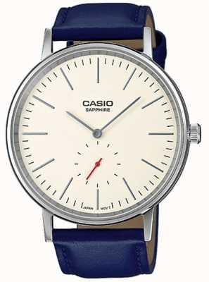 Casio Saphirglas Creme Zifferblatt blau Lederarmband LTP-E148L-7AEF
