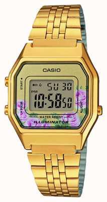 Casio Illuminator Gold PVD überzogenes Blumendruckzifferblatt LA680WEGA-4CEF