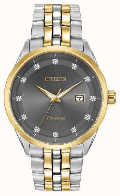 Citizen Corso Herren Diamanten Set graues Zifferblatt Armband BM7258-54H