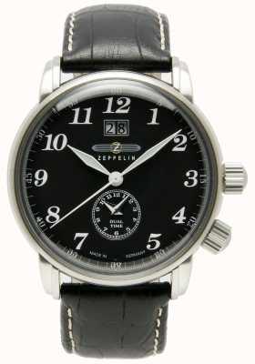 Zeppelin Zählen Sie doppelte Zeit große Datumsanzeige schwarzes Zifferblatt schwarzes Leder 7644-2