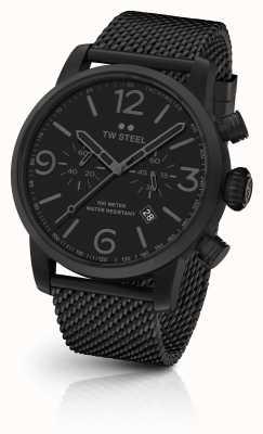 TW Steel Maverick Kaliber Chronograph schwarz Mesh Armband schwarzes Zifferblatt MB33