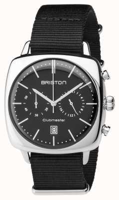 Briston Herren Clubmaster Vintage Stahl Chronograph schwarz Textil 17140.PS.V.1.NB