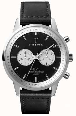 Triwa Slate Nevil Chronograph schwarzes Zifferblatt schwarzes Lederarmband NEST118-SC010112