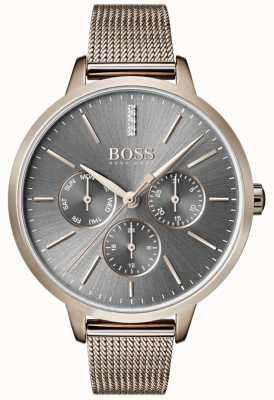 Boss Symphony graues Zifferblatt Tag & Datum Mesh-Armband 1502424