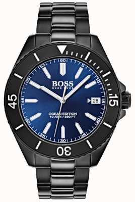 Boss Ocean Edition blaues Zifferblatt Datumsanzeige schwarz IP-Armband 1513559