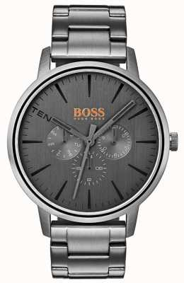 Hugo Boss Orange Herren Copenhagen Day & Date Display grau Zifferblatt ip beschichtet 1550068