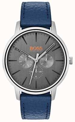Hugo Boss Orange Graues Zifferblatt Tag & Datum Sub Dial blau Lederband 1550066