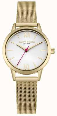 Daisy Dixon Wir leben Mode weiß Zifferblatt Gold Mesh-Armband DD069GM