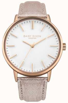 Daisy Dixon Damen Harper weißes Zifferblatt Roségold Gehäuse rosa Lederarmband DD061CRG