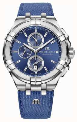 Maurice Lacroix Mens Aikon Denim-Look Armband Chrono Datum AI1018-SS001-431-1