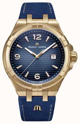 Maurice Lacroix Mens Aikon limitierte Edition aus Bronze mit blauem Kalbslederband AI1028-BRZ01-420-1