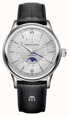 Maurice Lacroix Les classiques Herren Mondphase schwarzes Lederarmband LC6168-SS001-120-1