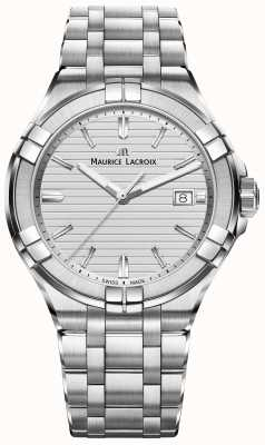 Maurice Lacroix Mens Aikon Edelstahl Quarz Silber Zifferblatt AI1008-SS002-131-1