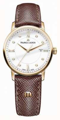 Maurice Lacroix Damen eliros braunes Lederband vergoldet Fall EL1094-PVP01-150-1
