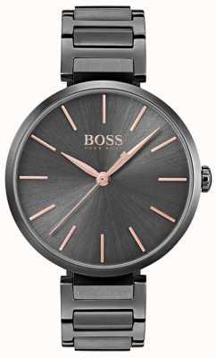 Hugo Boss Damen Anspieluhr schwarz Eisen plattiert Stahl 1502416